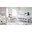 Emeletes ágy, Flexa White 200, fehér, világoskék leesésgátlóval, nyírfa lábbal