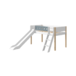 Flexa White 190 csúszdáságy, fehér, döntött létrával, világoskék leesésgátlóval, nyírfa lábbal