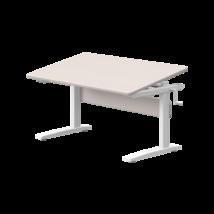 Állítható magasságú asztal, dönthető lappal, szürkére pácolt