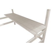 Ágyra szerelhető íróasztal polccal, 190 Classic magas emeleteságyhoz, fehér