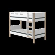 Flexa NOR Emeletes ágy 190, fehér, tölgyfa lábbal - egyenes létrával