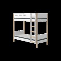 Flexa NOR Magas emeletes ágy 200, fehér, tölgyfa lábbal - egyenes létrával
