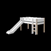 Flexa NOR Félmagas galériaágy 200, fehér, tölgyfa lábbal - egyenes létrával és csúszdával