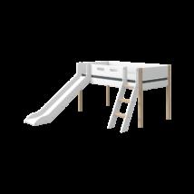 Flexa NOR Félmagas galériaágy 200, fehér, tölgyfa lábbal - döntött létrával és csúszdával