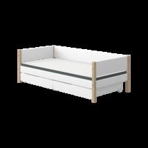 Flexa NOR egyszemélyes ágy 200, 2db fiókkal, fehér, tölgyfa lábbal