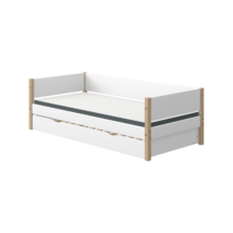 Flexa NOR egyszemélyes ágy 200, vendégággyal, fehér, tölgyfa lábbal