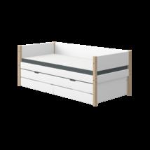 Flexa NOR egyszemélyes ágy 200, 2 db fiókkal és vendégággyal, fehér, tölgyfa lábbal