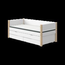 Flexa White alapágy 200, fehér, nyírfa lábbal ,vendégággal, 2db fiókkal