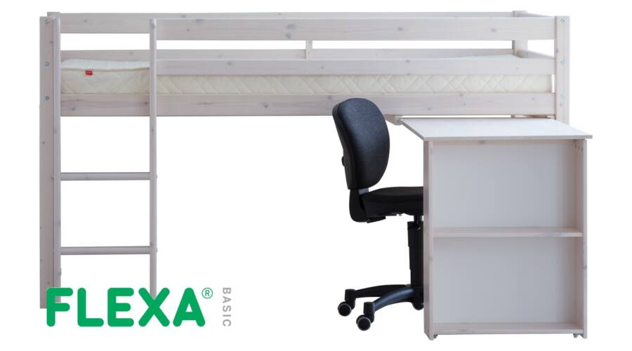 Flexa Basic  félmagas galériaágy  fehérre pácolt