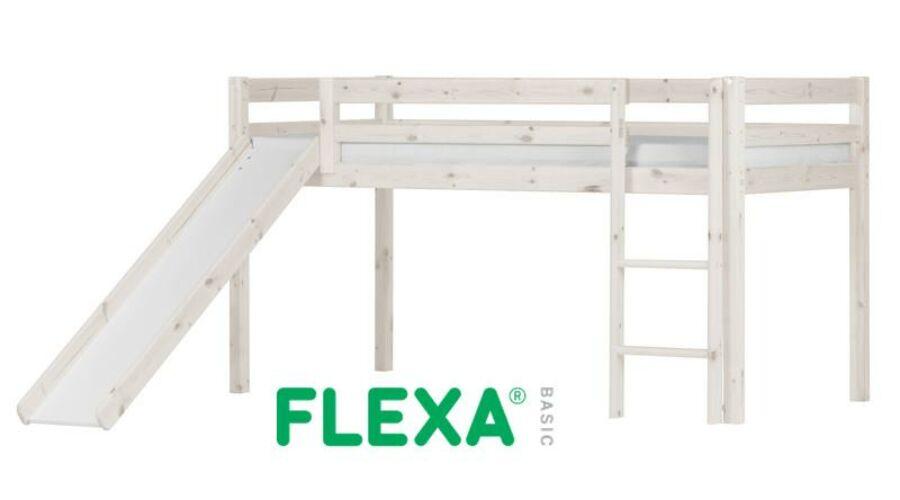 Flexa Basic  félmagas galériaágy csúszdával  fehérre pácolt