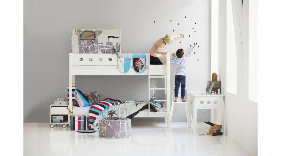 Emeletes ágy , Flexa White 200  , fehér leesésgátlóval,nyírfa lábbal