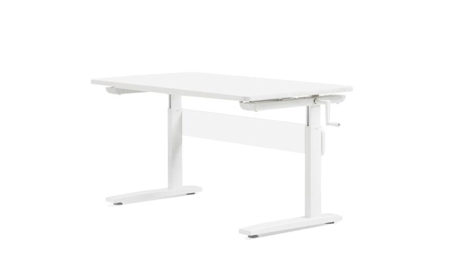 Állítható magasságú asztal, dönthető lappal, fehér