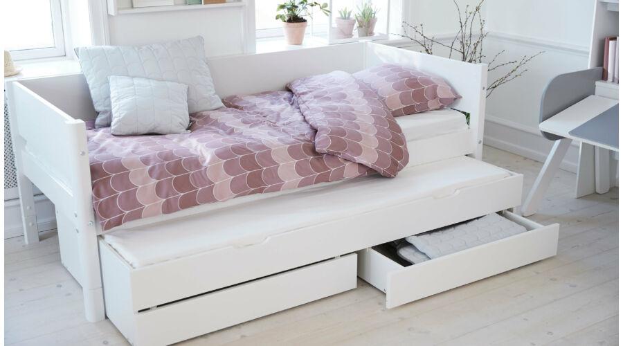 Flexa White alapágy 200, fehér,nyírfa lábbal ,vendégággal, 2db fiókkal