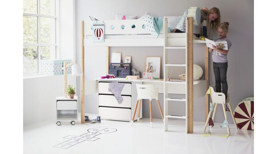 Galériaágy , Flexa White 200  , fehér, egyenes létrával, nyírfalábbal