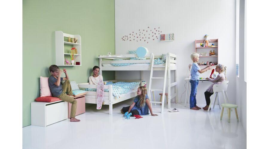 Elfordított emeletes ágy , Classic 200  , natúr, döntött létrával